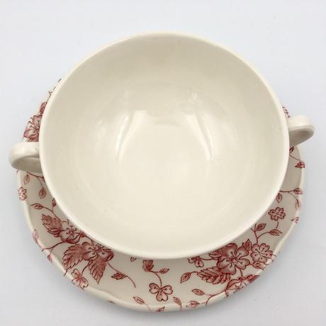イギリス/GRINDLEYグリンドレー社/Royal Tudor/Bouquetシリーズ・スープカップ&ソーサー