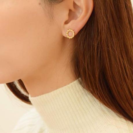 hanamaru.円でつくる花のイヤリング (ゴールド)【E40-332G】