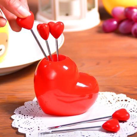 ホット販売高品質食器セットかわいい愛するハートステンレススチール&プラスチックフォーク用野菜フルーツソーセージケーキ。