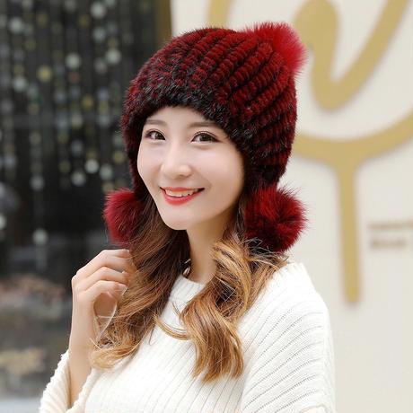 845 新しいファッションミンクの毛皮ニット帽子女性の毛皮の帽子暖かい毛皮ボール耳プロテクターヘッド女性の爆撃機帽子