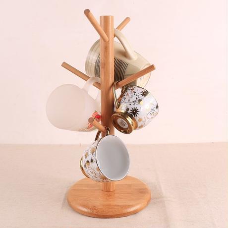 簡体字5木製コーヒーマグツリー茶カップホルダースタンドマグ収納ラックで6フック、自宅保管と組織。