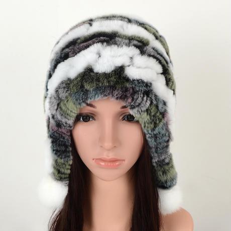 7848984 新ファッションの毛皮の帽子女性の冬のレックスウサギの毛皮の帽子ウールキャップ毛皮のボールドーム耳保護女性爆撃機帽子