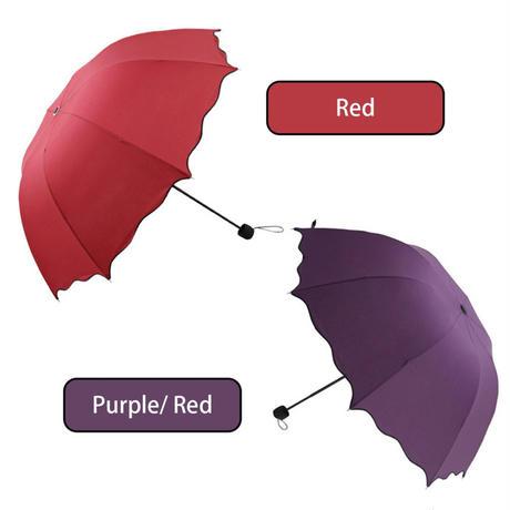 8リブフラウレース傘防水防風晴れと雨の傘紬三折りたたみアーチ型かわいい日傘