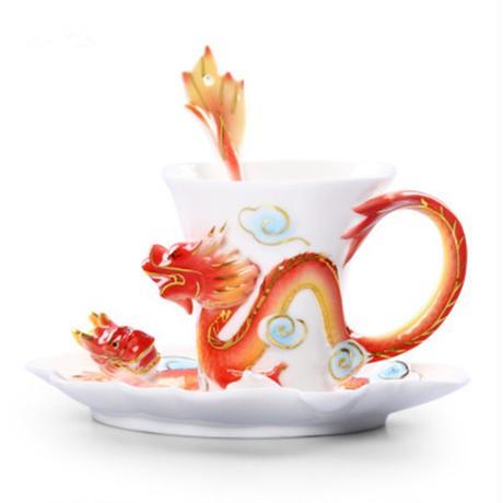芸術磁器エナメル優雅な繊細な ドラゴン フェニックス イルカ茶コーヒー カップ で ソーサー と スプーン ロマンチック クリエイティブ存在