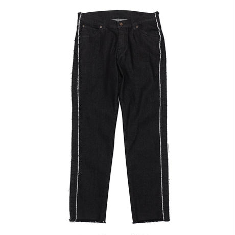FRINGE STRIPE SPANDEX BLACK DENIM PANTS/BLACK/EZP0190003