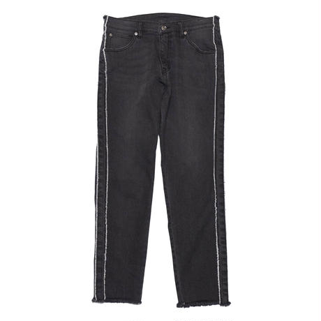 FRINGE STRIPE SPANDEX BLACK DENIM PANTS/BLACK Vintage/EZP0190003