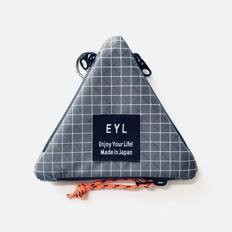 EYL coin purse Dyneema 210  denier X-grid Gray × Orange