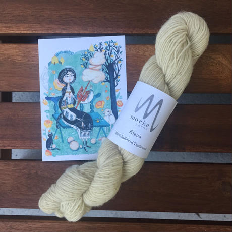 Moeke yarns  Elena  single Natural 60g かせ