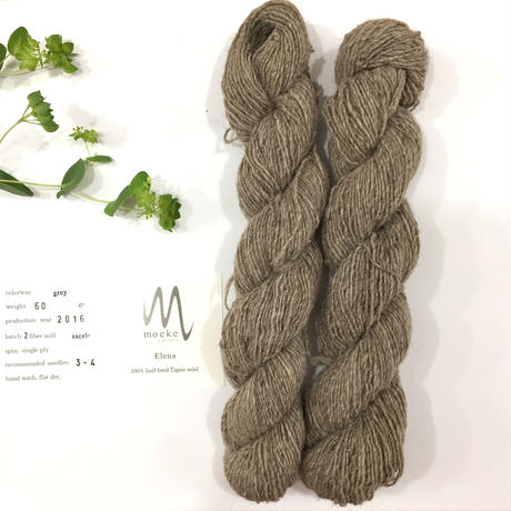Moeke yarns Elena  single grey グレイ60g