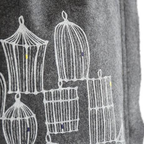 """メルトンウールバッグ """"birdcage_GY"""""""