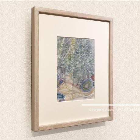 林 明日美作品 「夕暮れのユーカリと風」水彩画作品(額付)