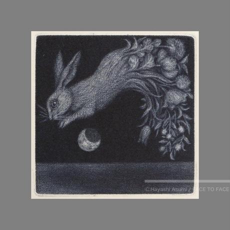 林 明日美作品 「花束をあげるー水兎ー」版画作品