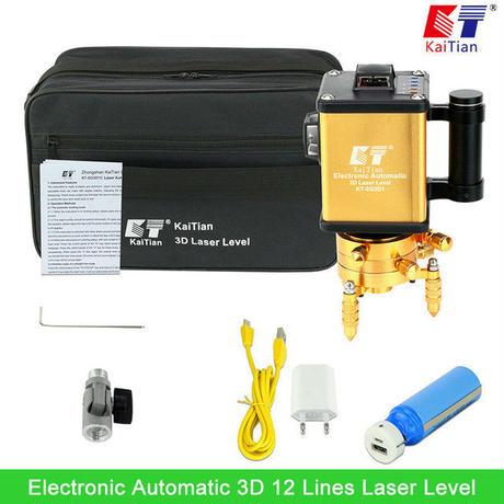 Kaitian グリーンレーザーレベル3D 12ライン バッテリー ロータリー/チルト機能/墨出し器 光学測定器 水平測定器