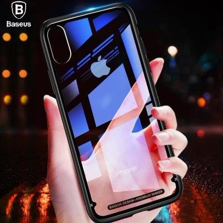 4カラー展開 iPhone X  高級ガラスケース  iPhonex  透明ガラスバック 保護カバー ワイヤレス対応