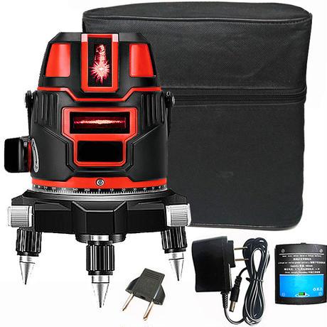 5ライン レッド レーザー 墨出し器 高輝度 高精度 水平/垂直 光学測定器 地墨点付 360°回転 635nm