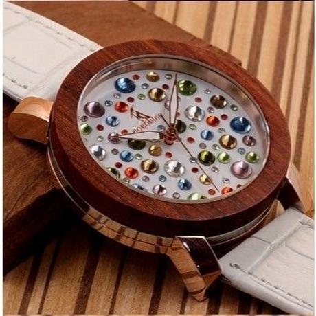 BOBO BIRD ラグジュアリー腕時計 木製 本革ホワイトストラップ レディース腕時計