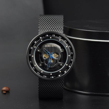 【BOBO BIRD】メンズクォーツウォッチ 360度回転 ベアリングデザイン ステンレス腕時計 スカルダイヤル