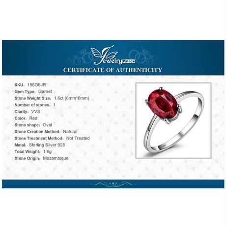 JewelryPalace 1.6ct ピュアレッドガーネットリング