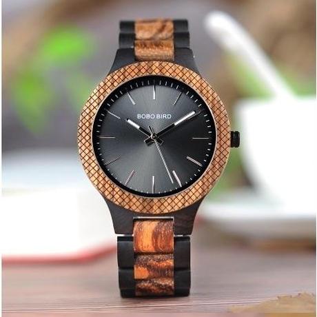 BOBO BIRD シンプル 木製腕時計 クォーツ 木の温もり 自然に優しい天然木 スタイリッシュ ブラック