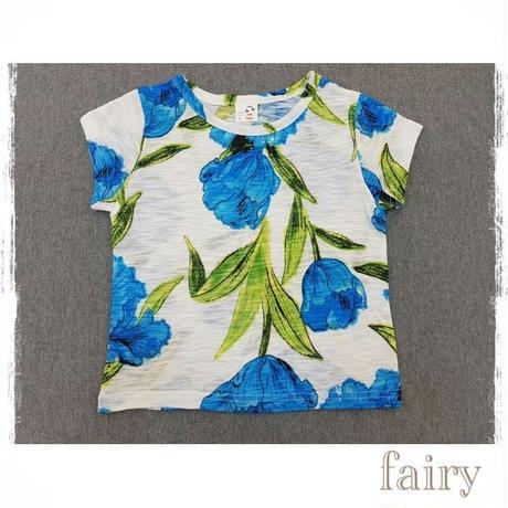 花柄半袖T ブルー