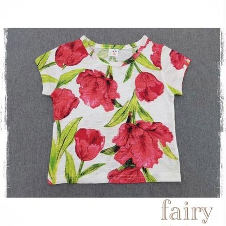 花柄半袖T レッド