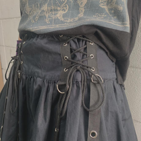 FAJ1192 vintage paper cats goth mini skirt