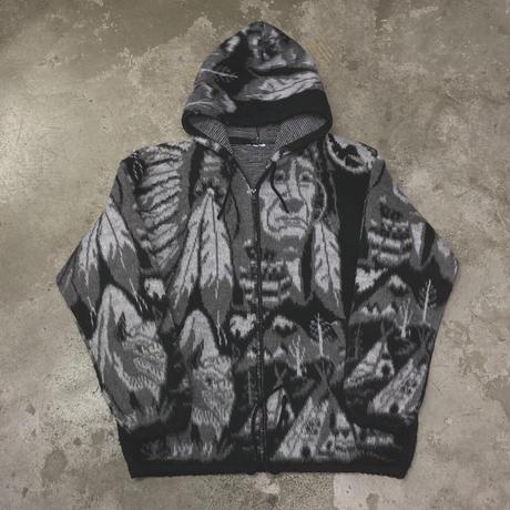 FAJ0951 vintage Indian knit zip up hoodie