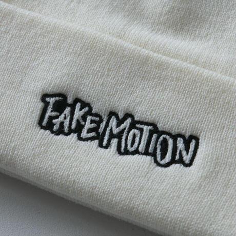 FAKE MOTION オリジナルロゴニット帽【ホワイト】(F-006)