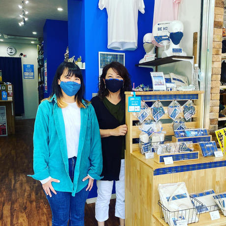 神戸タータン リネンマスク ブルー