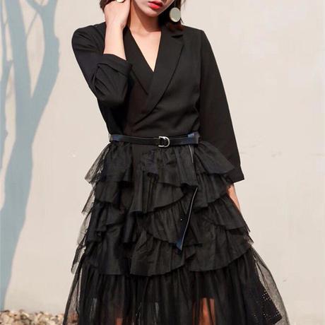 メッシュフリルスカートスーツドレス ワンピース(2色)