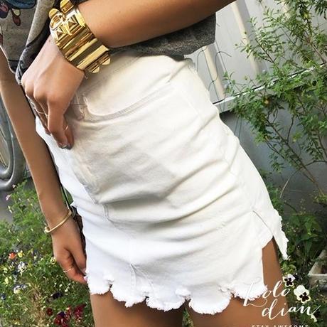 ハイウエストジョーカーデニムスカート風ショートパンツ(4色)
