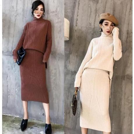 ハーフネックケーブルセーターセットアップニットスカート(5色)