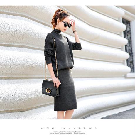 セットアップ ベーシックニットスカートツーピース(5色3サイズ)