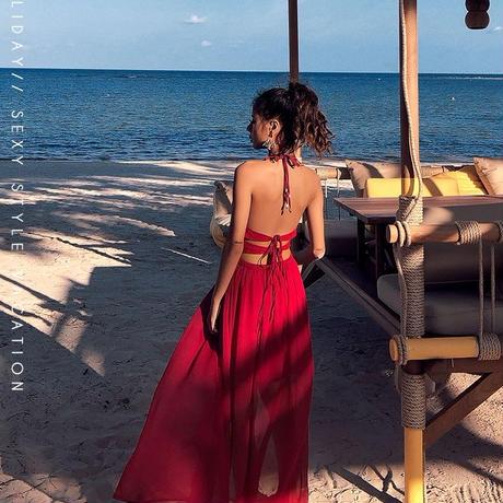 Vネックホルターレースロングマキシビーチドレス ワンピース
