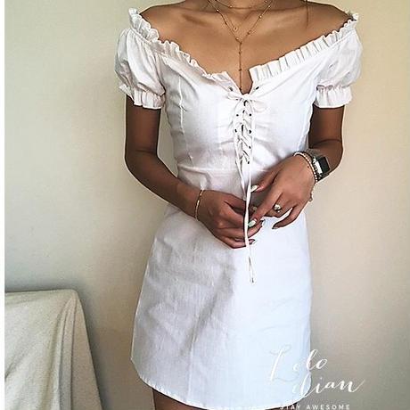 胸元レースアップパフスリーブワンピースドレス(3色)