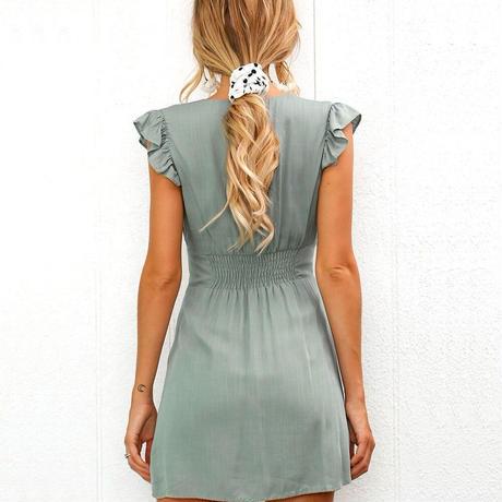 Vネックフロントボタンワンピースドレス(3色)水着ビキニカバー