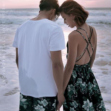 フラワーバッククロスロングビーチドレス ワンピース