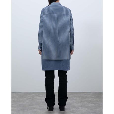【ATELIER BETON】ストライプエプロンレイヤードシャツ(ブルーストライプ)