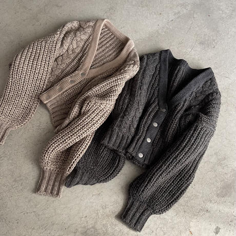 WOOL BLEND CABLE KNIT CARDIGAN