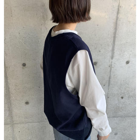 【sold out】Vネック ベスト navy/brown