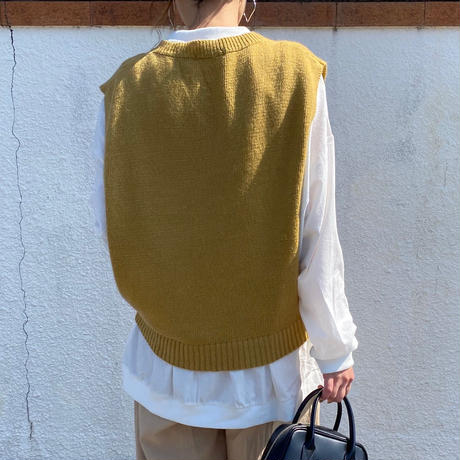Open side  knit vest   (00440)