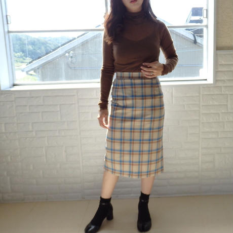 blue check skirt