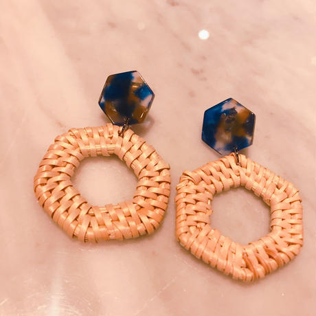 hexagon rattan earrings