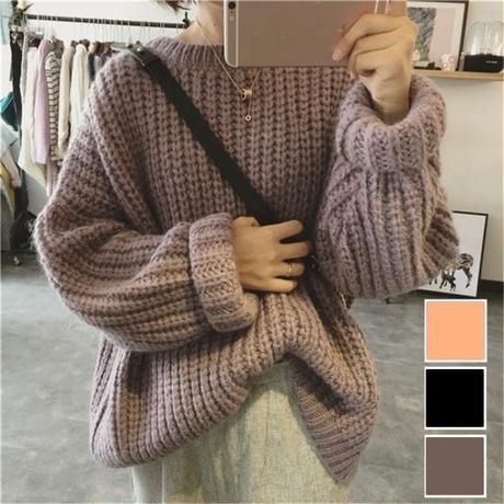 ローゲージのざっくりが可愛いゆったりセーター
