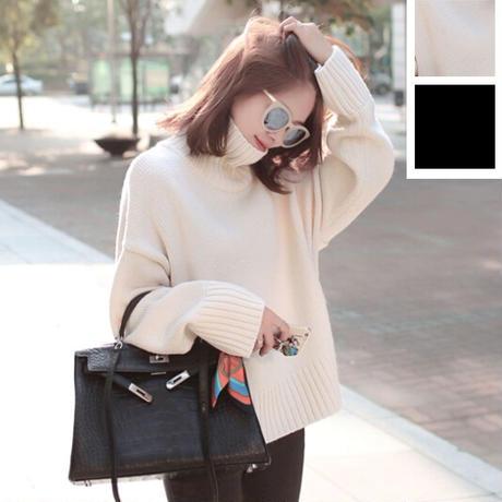 タートルネックとゆったり着れるフィット感が可愛いセーター