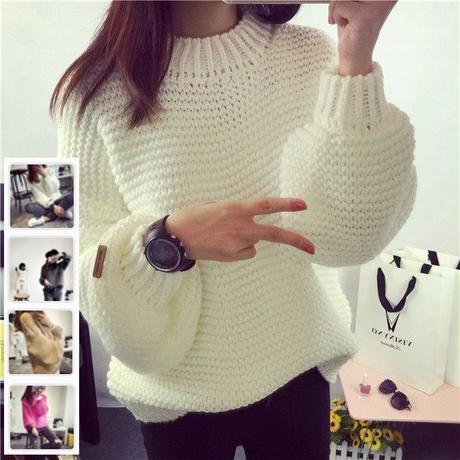 【Fcstyle】【送料無料】バルーン袖とオーバーサイズが今期トレンドのゆるかわセーター