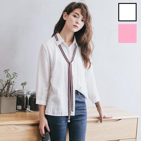 【Fcstyle】【送料無料】長い目のタイがかわいいブラウス トップス シャツ 韓国ブランド風 韓国ファッション ホワイト ピンク