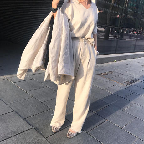 linen fringe pants