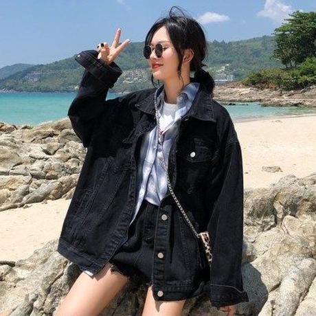 ブラック デニムジャケット 女 ルース 春秋 新しいデザイン 韓国風 学生 風 アンティ
