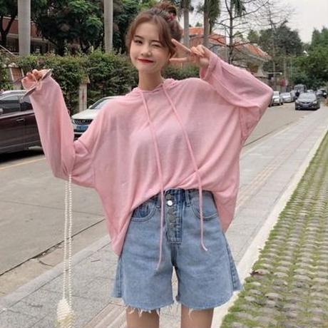 女 夏服 新しいデザイン 韓国風 ルース 帽子付き 引きひも ニット 学生 薄いコート